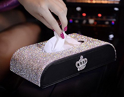 Price comparison product image Follicomfy Bling Bling Sparking Luxury Crystal Crown Car Tissue Box Glitter Home Decorative Tissue Cup Holder, White