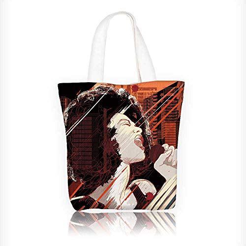 canvas tote bag Vector of an afro american jazz singer on gr