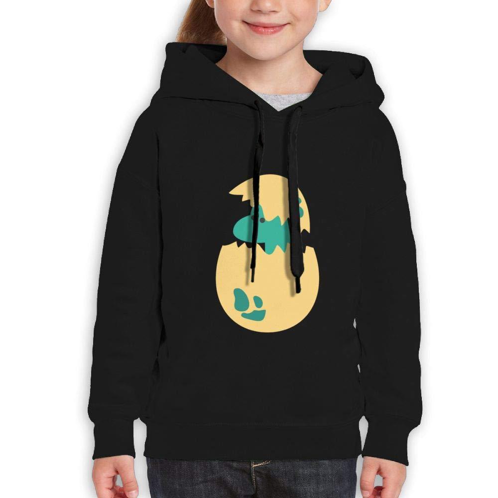Qiop Nee Cute Blue Dinosaur and Egg Kids Hoody Print Long Sleeve Sweatshirts for Girl