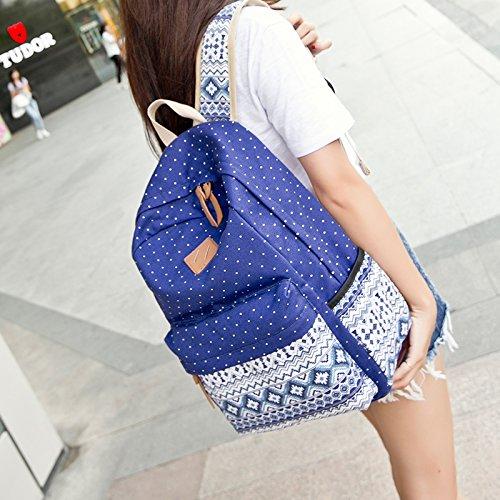 Imyth Bohemia Cute Backpack Casual School Bag Daypack Travel Bag for Girls ( Dark Blue )