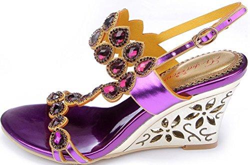 Salabobo L013 Womens Roman Rhinestone Comfort Weddge Sandals Glaring Beautiful Pretty Performance Wedding Dress Bride Bridemaid Party Work Job Leisure Shoes Purple(wedge) YOKMJ3ttj