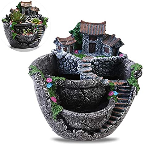 GW Micro Paisaje Flores Artificiales Plantas suculentas Olla Diminuto Titulares de macetas creativos Jardín Colgante y Casa Dulce (Plata): Amazon.es: Deportes y aire libre