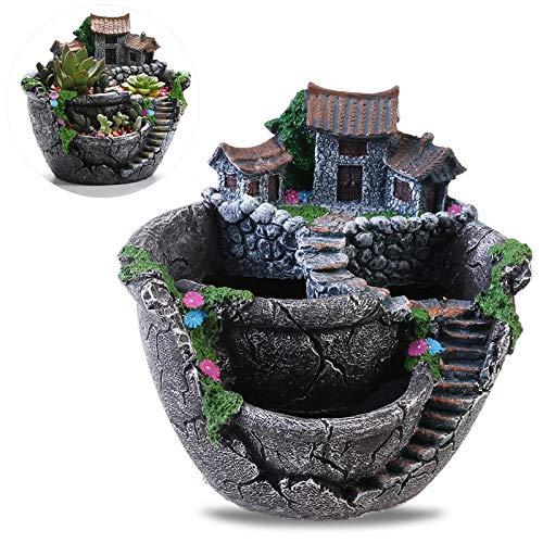 Micro Landscape Artificial Flowers Succulent Plants Pot Tiny Creative Flower Pot Holders Hanging Garden & Sweet House ()