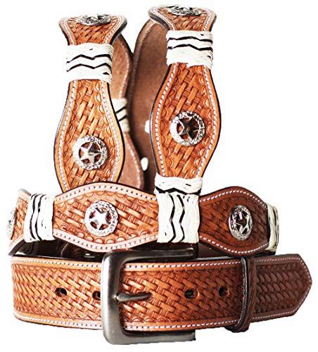 47-48 Pro Rider Western Hand Tooled Basket Weaved Heavy Duty Belt Rawhide - Inch Rawhide 48
