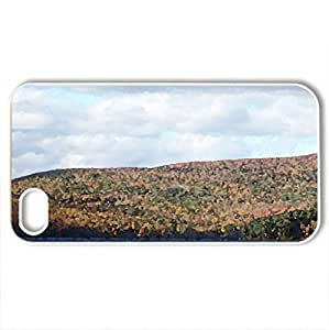 autumn #5 - Case Cover for iPhone 4 and 4s (Mountains Series, Watercolor style, White)