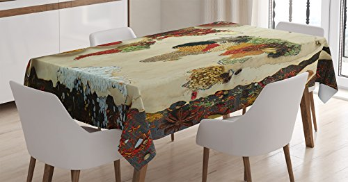 Wanderlust Decor Tablecloth by Ambesonne, Map of the World with Different Kinds of Spices Cuisine Stylized Artwork Print, Rectangular Table Cover for Dining Room Kitchen, 52x70 Inch, Multi