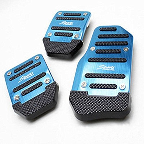 Ocamo Universal Nonslip Clutch Brake Gas Car Pedal Plate Set for Catch Car blue Manual ()