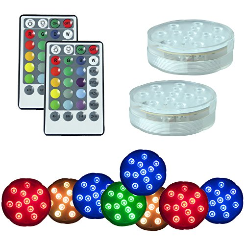 PX Home Underwater Submersible LED Lights, Waterproof Wireless Remote Controlled Battery Operated Multicolor 10 LEDs Reusable lights for Pond,Pool,Aquarium,Party, Wedding, Vase Base etc.- 2 Pack by PX Home