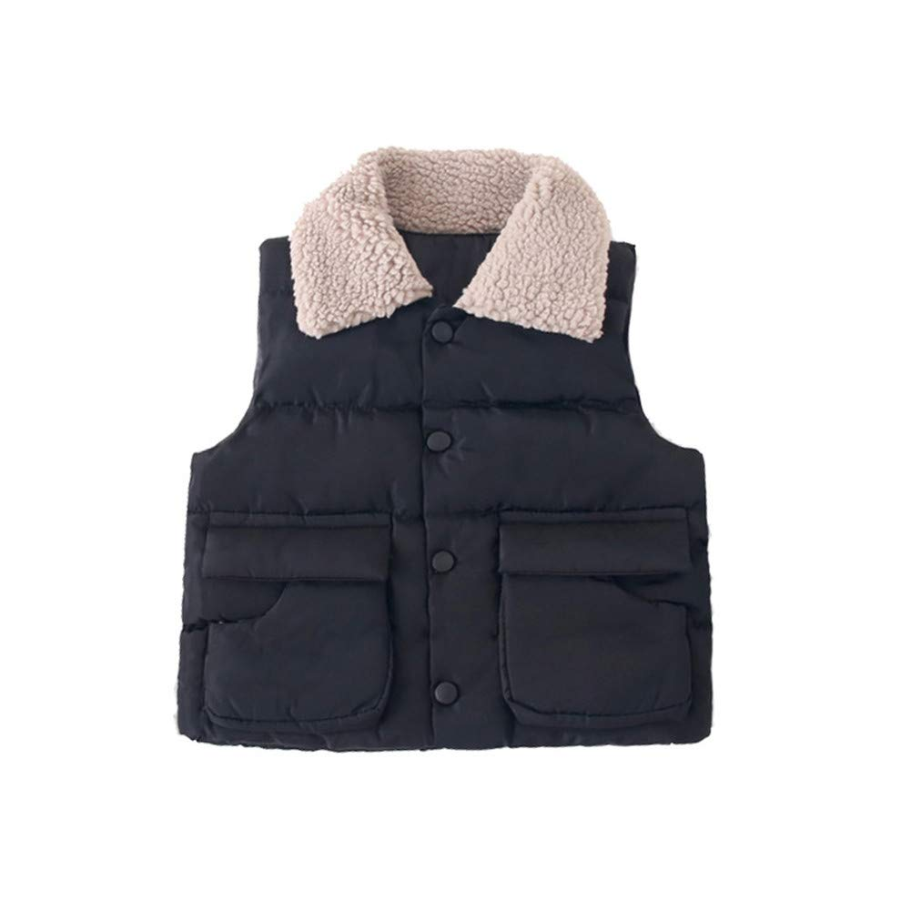 W Kids Vest Fur Collar Girls Down Cotton Clothes Baby Boy Vest Kid Jacket Coat,Black,5Y by W