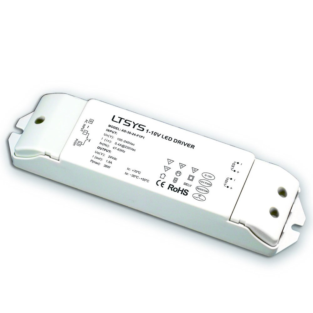 0-10V Intelligent Dimmable LED Driver Anolog Dimming Signal to Constant Voltage 36W PWM Controller 5 in 1 Dimming 1-10V / PWM / RX CC Push Dim (24V DC 36W)