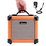 Asmuse Electric Guitar Amp 10W Portable Combo Amplifier Speaker with Distortion Effect 2 Band EQ Bass Treble and Aux Input(including US Adapter)