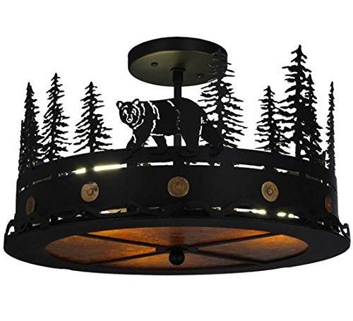 - Meyda Tiffany 134785 Northwoods Bear At Dusk Flush Mount Light Fixture, 16