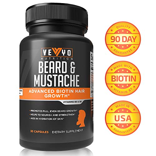 Beard Growth by VEYO Nutrition - Powerful Beard Growth Vitamins for Men w/Biotin for Fast Results - Once Daily Facial Hair Growth Formula for All Hair Types -