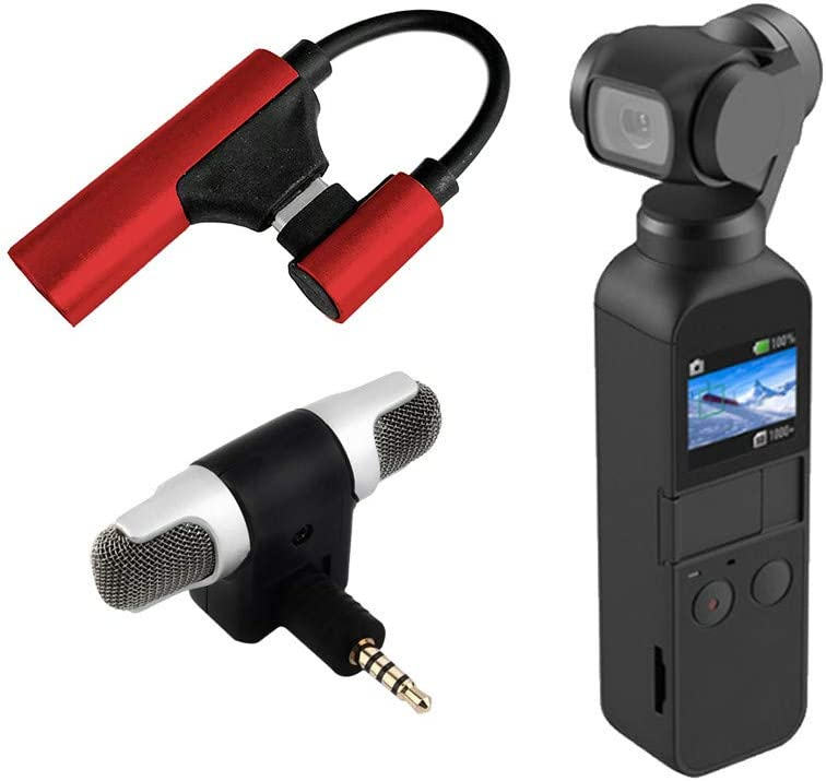 Dearprias Type C to 3.5mm Audio Adapter External Wireless Microphone for DJI Osmo Pocket Red