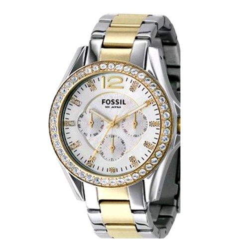 (Fossil Women's ES2521 Two-Tone Stainless Steel Bracelet Silver Glitz Analog Dial Multifunction Watch)