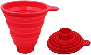 Silicone Collapsible Big Funnel,Kitchen Foldable Funnel for Wide Mouth and Regular Jars,Food Grade Jam Spice Funnel for Jam Powder Spice Bean Transfer(Red)