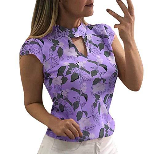 Keliay Womens Tops for Summer,Women's Fashion Printing Cap Sleeve Tops Summer Casual Shirt T-Shirts Purple