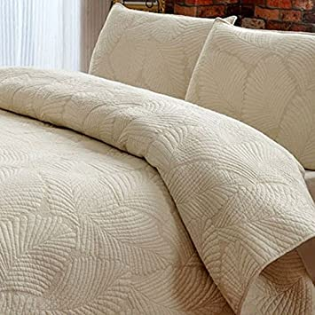 Brandream White Beige Vintage Floral Comforter Set Queen Size Bed Quilt Set  (Beige Palm)