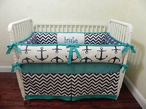 Nursery Bedding, Baby Crib Bedding Set Braxton, Boy Baby Bedding, Nautical Crib Bedding, Navy Baby Bedding, Teal Crib Bedding - Choose Your Pieces ()