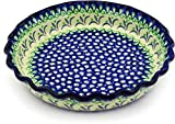 Polish Pottery 10-inch Fluted Pie Dish made by Ceramika Artystyczna (Fleur De Lis Theme) + Certificate of Authenticity