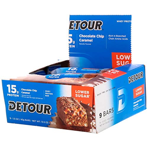 Detour Whey Protein Bar Chocolate Chip Caramel 9 Bars 1 5 oz 43 g Each
