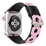 Juzzhou Band For Apple Watch iWatch Series 3/2/1 Sport Edition Leather Replacement Bracelet Wristband Wriststrap Watchband Wrist Strap With Metal Adapter Adjustable Buckle For Woman Girl Pink 38mm