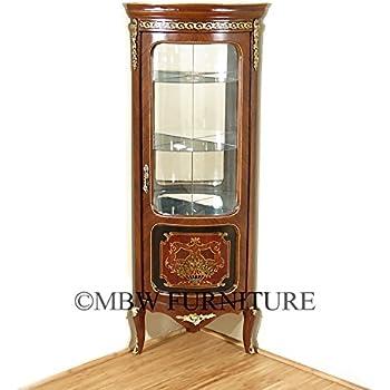 Vintage Mahogany/Walnut French Louis Corner Curio Cabinet