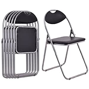 6Pcs. Folding Black Chairs Furniture Home Outdoor Picnic Portable