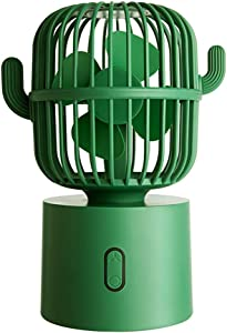 Personal Fan Small Desktop USB Desk Fan, Cactus Mini Handheld Table Rechargeable 80 Degree Auto Rotation Portable Fans, 3 Speeds Strong Wind, Quiet Operation Fan for Room Home Office Outdoor Travel (Green)