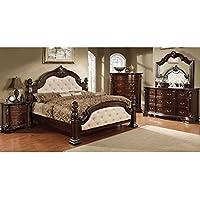 247SHOPATHOME Idf-7296LA-EK-6PC Bedroom-Furniture-Sets, King, Dark Walnut