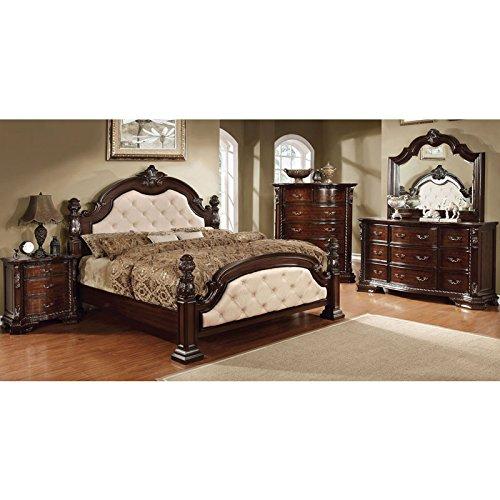 monte vista dark walnut finish ivory leatherette king size 6piece bedroom set