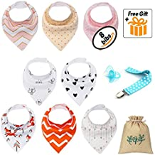 Baby Bandana Drool Bibs For Girls With Snaps – 8 Pack Set 100% Cotton Bandana Bib For Drooling Absorbent, Hypoallergenic & Organic Soft Pink, White Baby Bandana Bib