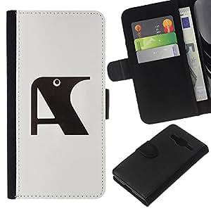 iBinBang / Flip Funda de Cuero Case Cover - Una letra inicial Cuervo Gris Negro - Samsung Galaxy Core Prime