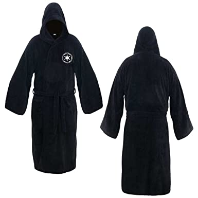 4a34287484 Amazon.com  Star Wars Galactic Empire Black Cotton Hooded Bathrobe ...