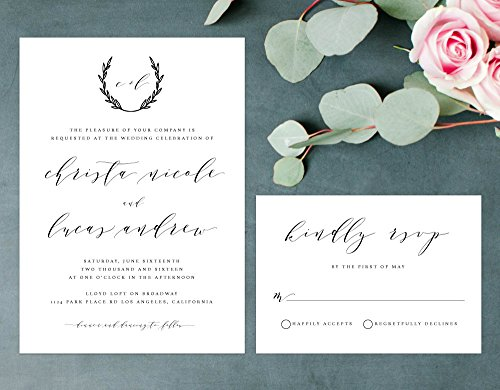 Rustic Elegant Wedding Invitation, Handwritten Wedding Invitation, Wreath Wedding Invite by Alexa Nelson Prints