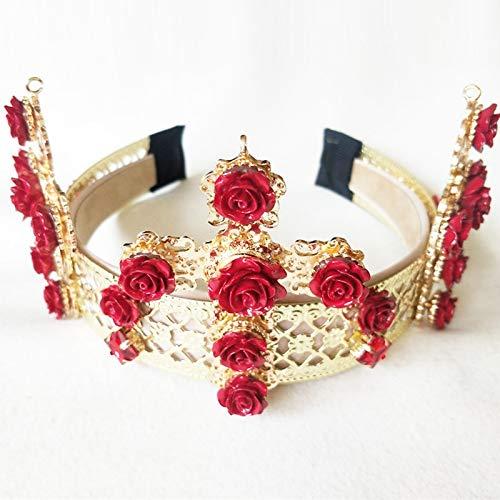 Baroque Headband Crown Tiara Diadem Wider Than Grand Cross Wind Retro Metal Red Flower Headdress Bridal Accessories