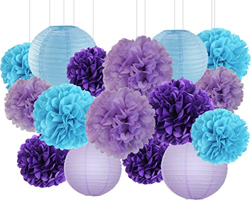 Purple And Turquoise Decorations (Mermaid Party Decorations Wedding Party Decorations Purple Lavender Turquoise Blue Tissue Paper Pom Poms Flowers Paper Flower Balls Paper Lanterns Boys Birthday Party Decoration)