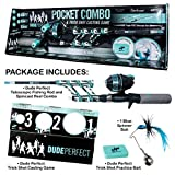 DUDE PERFECT Fishing Rod and Spincast Reel Combo Micro Series - Telescopic Tangle