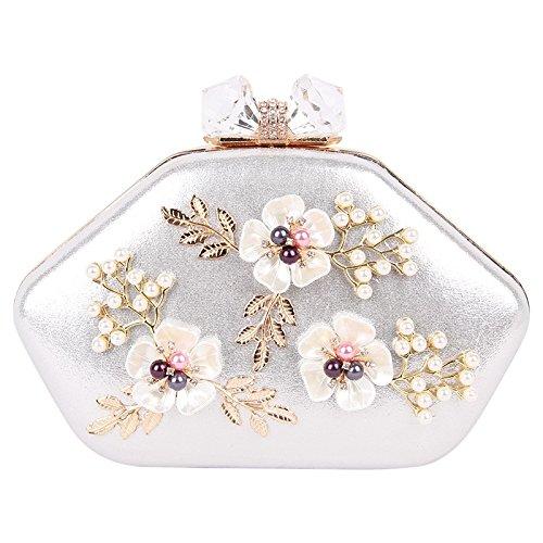 Ruiyue Bolsos de Embrague de Tarde Floral de Las Mujeres Bolsos del Día de Las Señoras embragues Retros de Perlas de la Perla del Bolso del Banquete de Boda de Las Mujeres Blancas (Color : Gold) Silver