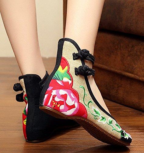 Avacostume Vrouwen Chinese Pioen Borduurwerk Dubbele Enkelband Ballet Platte Instappers Schoenen Zwart