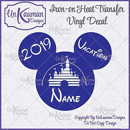Disney Inspired Personalized Mickey or Minnie Mouse Vacation Iron On Vinyl Decal for Clothing]()