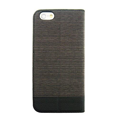 Uunique nouveau Mode tissu Combinaison Etui Folio pour iPhone 6 Marron foncé