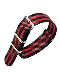 22mm Black/Red Deluxe Premium NATO style Sturdy Exotic Soft Nylon Sport Men's Wrist Watch Band Wristband