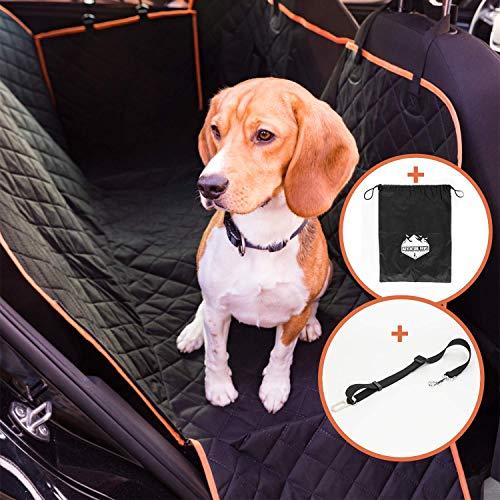 Adventure Paws Autoschondecke für Hunde – Rücksitz Hundedecke geeignet für alle Autos – Praktische Rückbank Hundeschondecke für Absolute Sauberkeit – inklusive Aufbewahrungstasche & Hundegurt