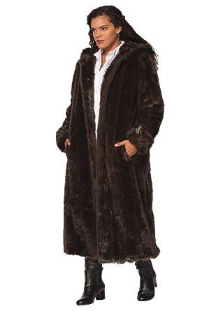 Roamans Women's Plus Size Long Imitation Fur Coat at Amazon ...