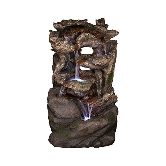 Alpine Corporation 6-Tier Rainforest Rock Water Fountain with LED Lights - Outdoor Water Fountain for Garden, Patio, Deck, Porch - Yard Art Decor - WATERFALL FOUNTAIN: Garden water fountain is the perfect addition to your outdoor decor. Interior pump keeps the water flowing - just plug it in! RELAXING WATER FLOW: Water trickles from each tier to mimic the sounds of a real waterfall, adding peaceful ambiance to your outdoor setting NATURAL LOOK: Realistic brown stone tower brings a touch of natural beauty to your space - patio, outdoor-decor, fountains - 51iAQCqPIhL. SS570  -