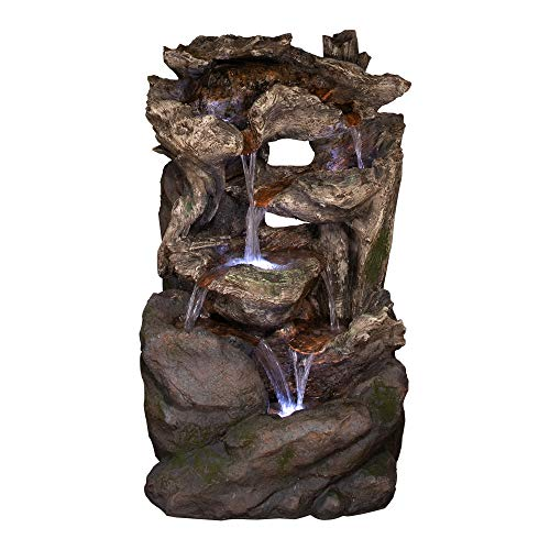 Alpine Corporation 6-Tier Rainforest Rock Water Fountain with LED Lights - Outdoor Water Fountain for Garden, Patio, Deck, Porch - Yard Art Decor