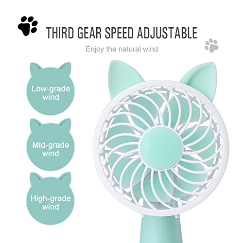 Rechargeable Handheld Fan with 7 Blades and 3 Power Settings Portable for Women Men Kids Light Green by RioRand (Image #2)