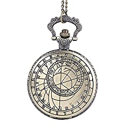 GLMPQ Antique Pocket Watch with Chain Vintage Engraving Classical Roman Character Compass Mapping Flip Rune Pocket Watch Easy to Read time (Color, Size : Free Size)