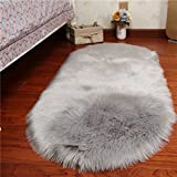 Rugs Carpets Rug Carpet Faux Sheepskin Carpet Fluffy Shaggy Rug Decorative Sofa Cushion 5-6cm Long Pile Carpet for Living Room Bedroom Floating Window Pad ( Color : Gray , Size : 80150cm )
